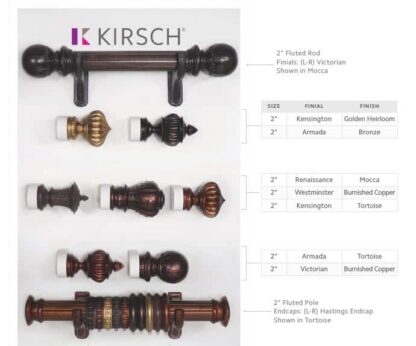 Wood curtain rod fluted plus