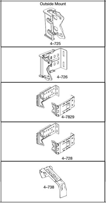 """Brackets and Supports for 21⁄2"""" Dauphine® Rods Full"""